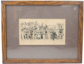 A LATE 19TH CENTURY ETCHING OF A RACING CROWD
