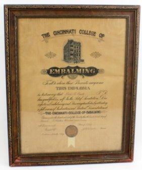 1907 CINCINNATI COLLEGE OF EMBALMING DIPLOMA