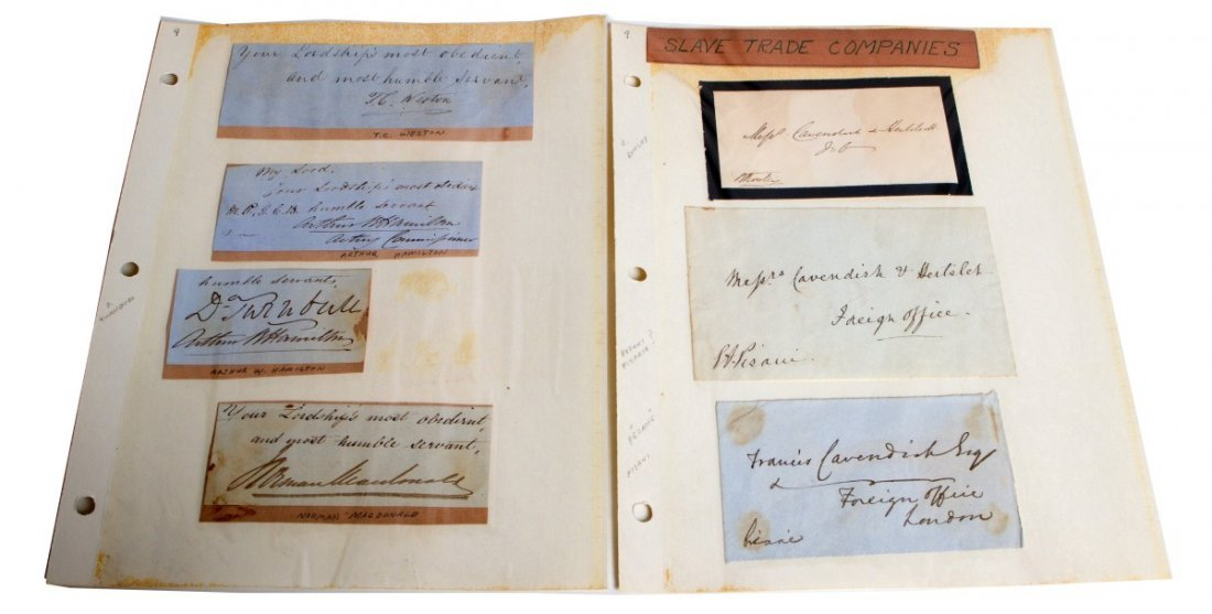 19TH CENTURY ANTI-SLAVE TRADE DIPLOMAT SIGNATURES