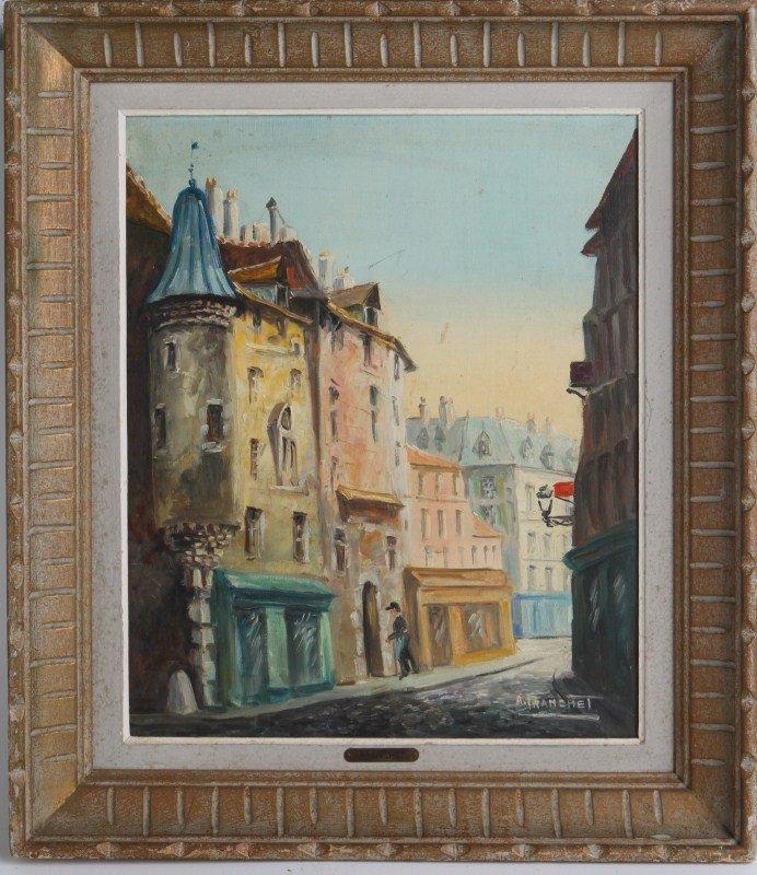 A. FRANCHET VIEW OF PARIS 1930'S OIL ON CANVAS