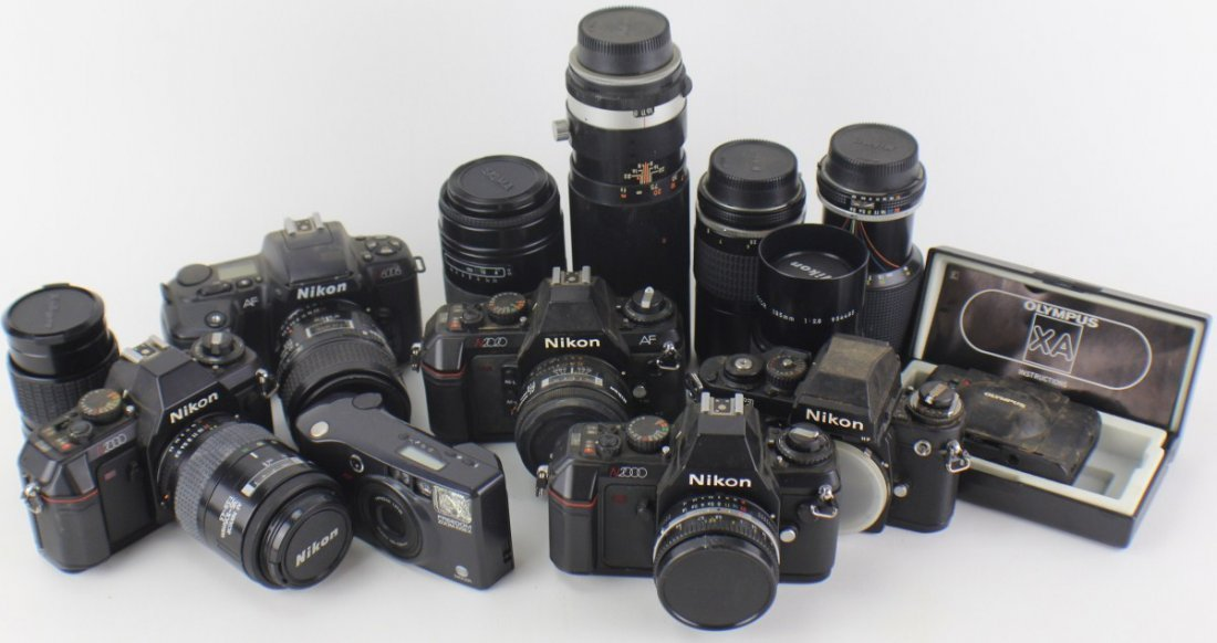 GROUP LOT OF 7 CAMERAS AND 9 LENSES