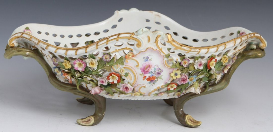 VICTORIAN MEISSEN RETICULATED CONSOLE BOWL FLORAL