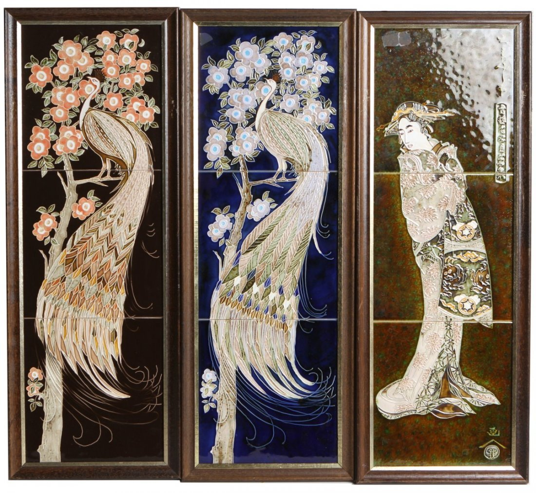 LOT OF THREE ASIAN FRAMED PAINTED TILES