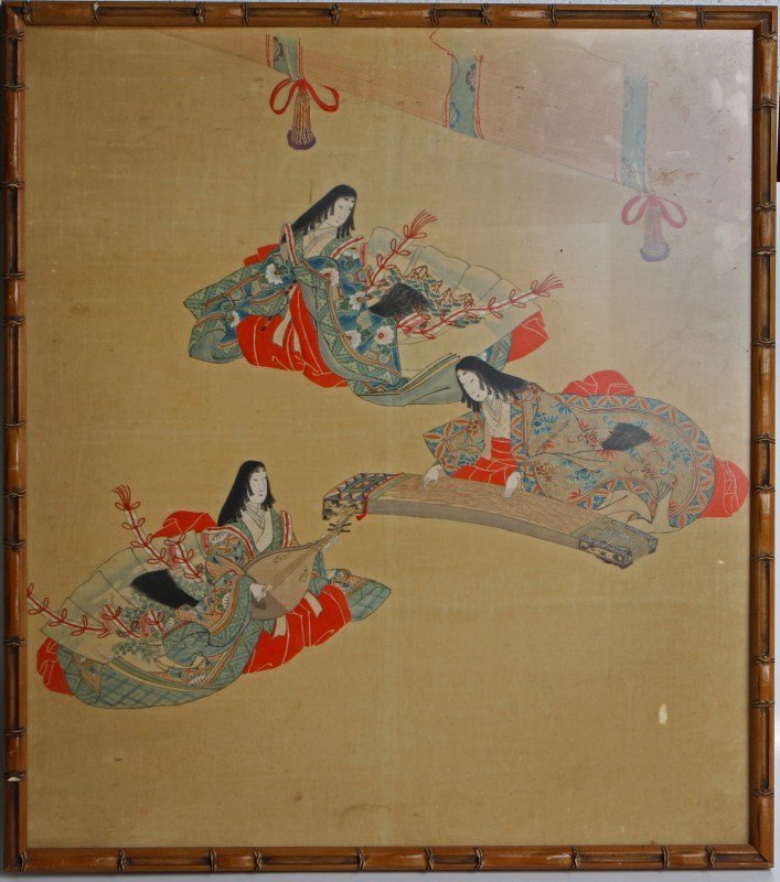 FRAMED JAPANESE FIGURAL EMBROIDERY