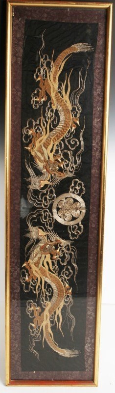 JAPANESE EDO PERIOD CREWEL EMBROIDERY OF DRAGONS