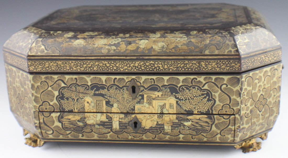 JAPANESE MEIJI PERIOD LACQUERED SEWING BOX