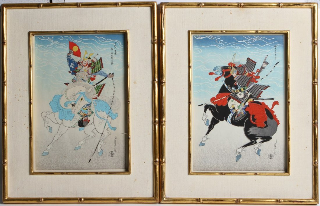 PAIR OF JAPANESE WOODBLOCK PRINTS OF SAMURAI