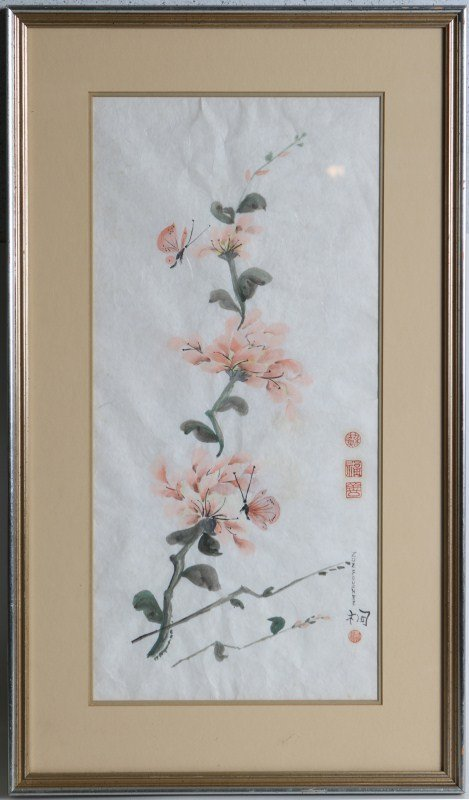 SIGNED JAPANESE FLOWER PAINTING ON RICE PAPER