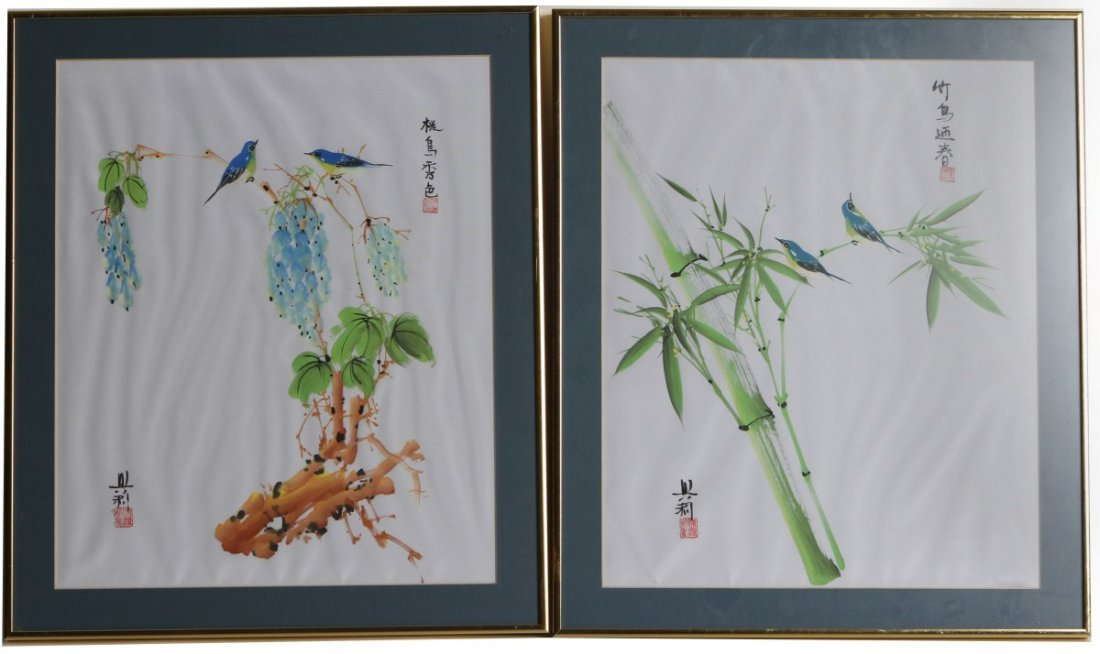 PAIR OF CONTEMPORARY ASIAN BIRD PAINTINGS ON LINEN