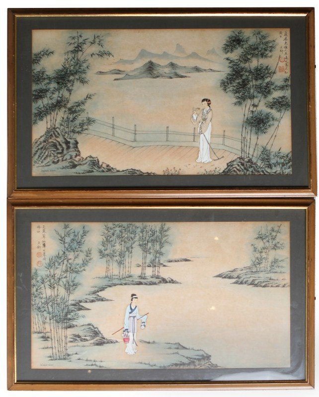 PAIR OF DIANA KAN WATERCOLOR LANDSCAPE ON PAPER