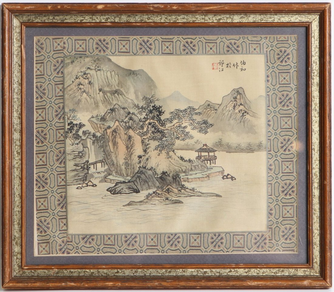 JAPANESE WATERCOLOR ON SILK SIGNED FRAMED