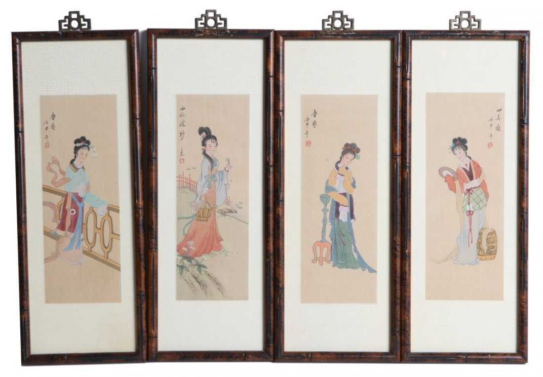 LOT OF FOUR FRAMED LADIES PAINTED ON SILK