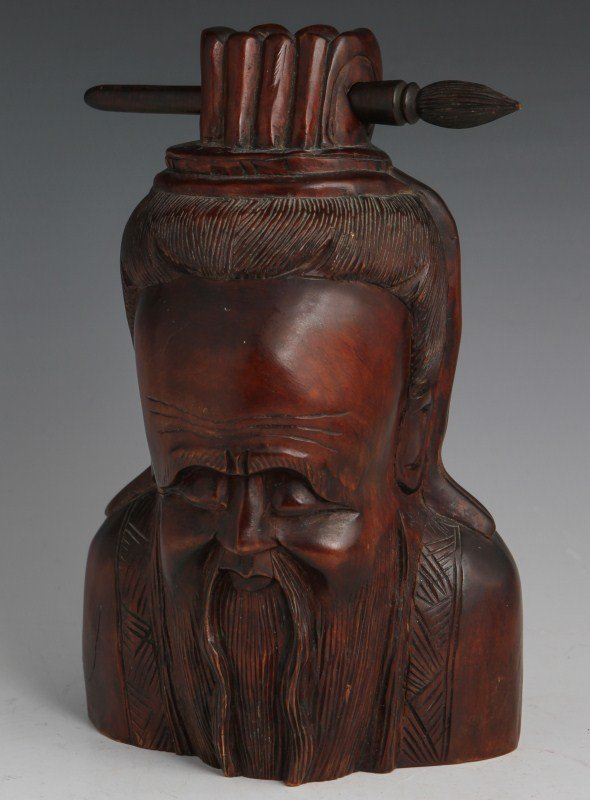 CHINESE WOODEN BUST OF CONFUCIUS