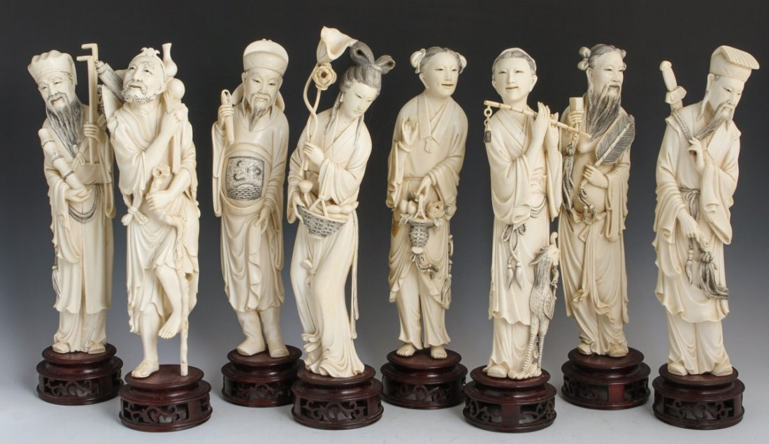 CHINESE CARVED IVORY EIGHT IMMORTALS