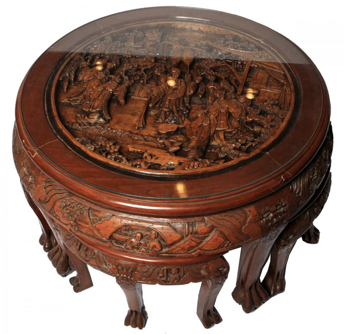 CARVED CHINESE COFFEE TABLE WITH FOUR STOOLS