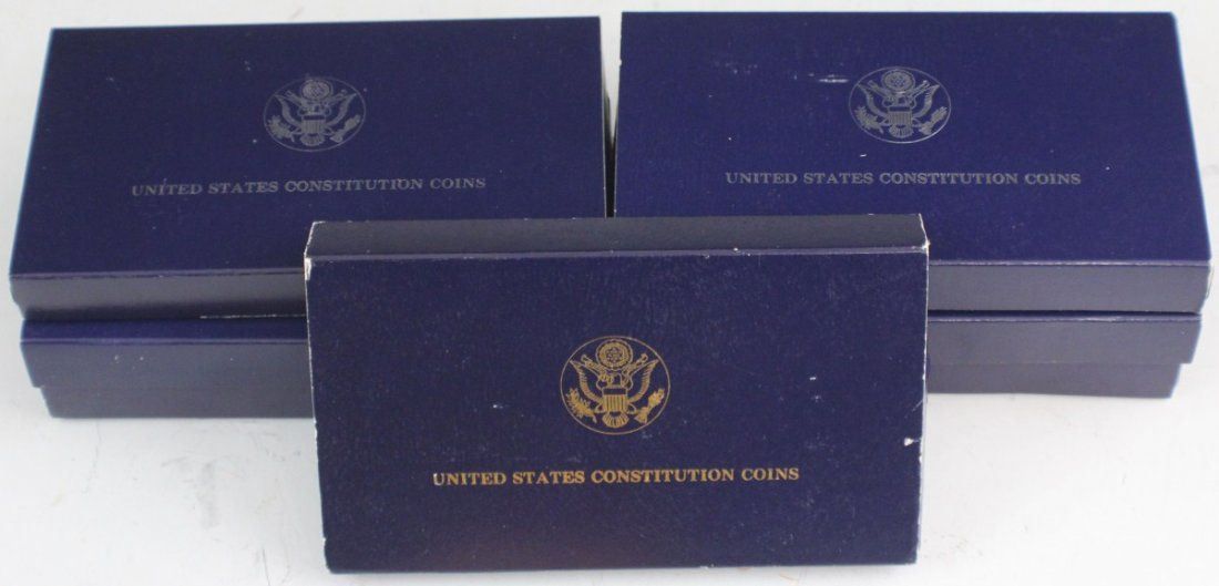 7 US COMM ONE & TWO COIN PROOF CONSTITUTION SETS