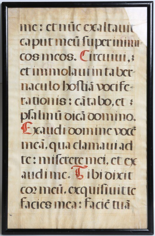 LARGE FRAMED EXCERPT OF LATIN PSALM 18TH CENTURY