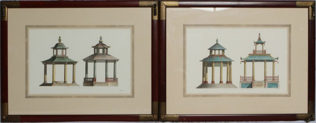 HAND TINTED ARCHITECTURAL ENGRAVINGS FOURDRINIER