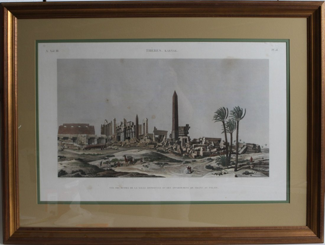 COLORED ENGRAVING HYPOSTYLE AT KARNAK 19TH CENTURY