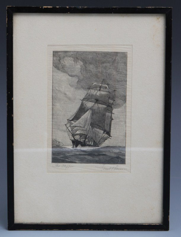 "FRED T LARSON ""THE CLIPPER"" WOOD ENGRAVING"