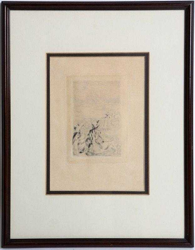 RENOIR FRAMED ETCHING SUR LA PLAGE 1892