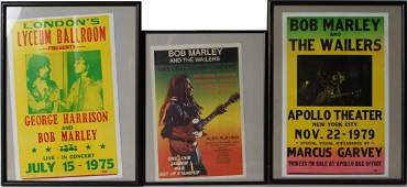 3 BOB MARLEY CONCERT POSTERS 1970S