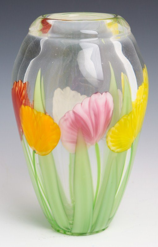 JUSTIN LUNDBERG ART GLASS VASE - SIGNED