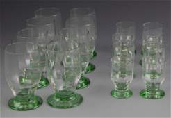 16 GREEN VASELINE DAUM NANCY GLASS SET