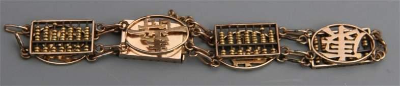 LADIES 9K YELLOW GOLD ABACUS CHARM BRACELET