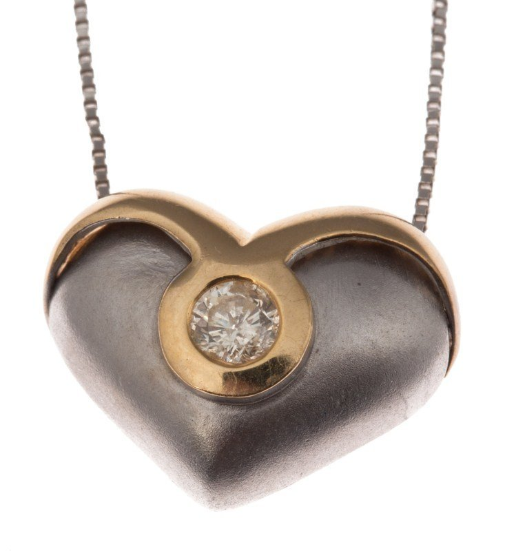LADIES 14K GOLD DIAMOND HEART PENDANT W/ CHAIN