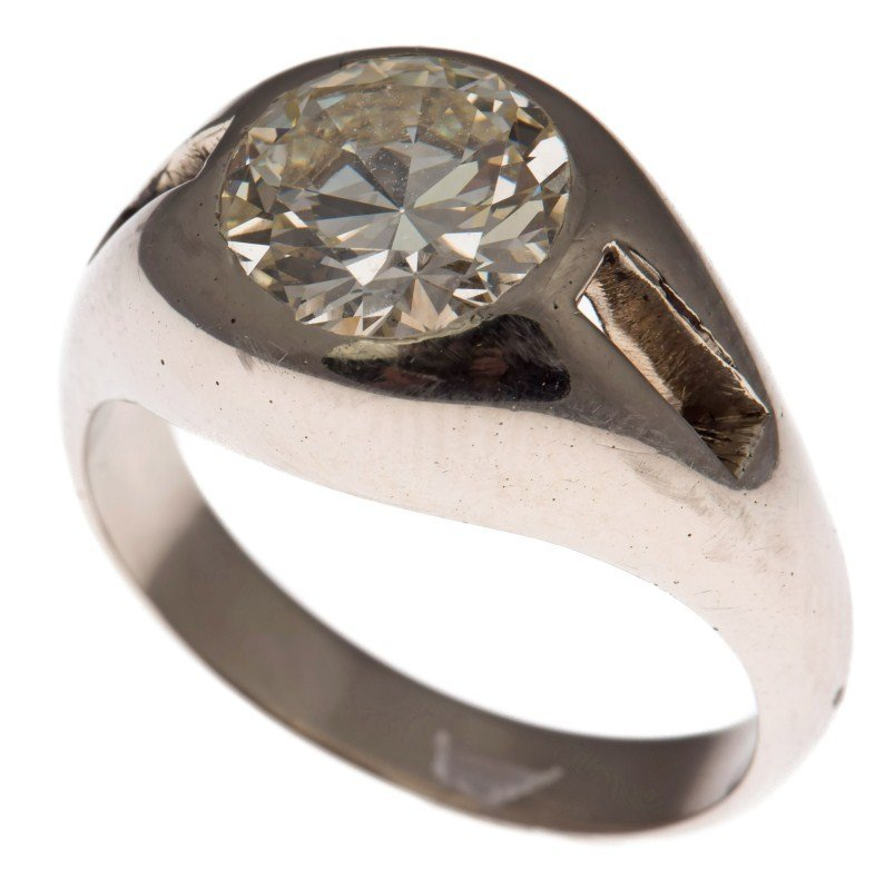 Men's 18k White Gold 3.32 Ct Diamond Solitaire Ring
