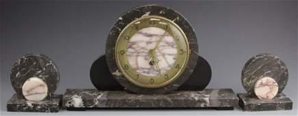 ART DECO 3 PIECE MARBLE MANTEL CLOCK SET
