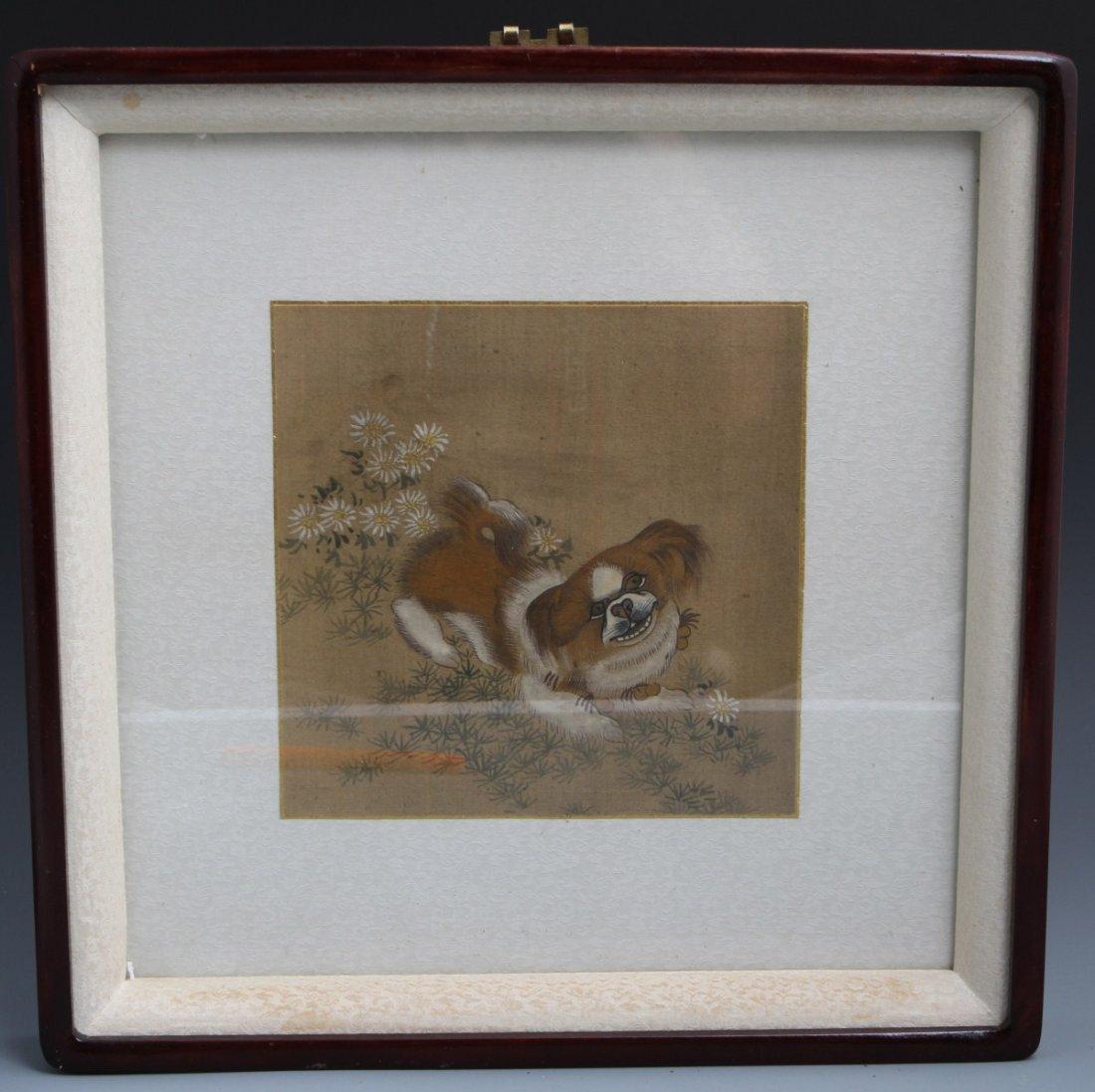 Chinese Framed Watercolor On Silk Pekinese