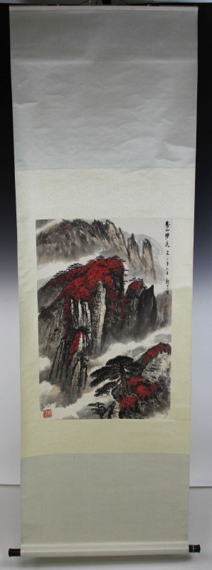 CHINESE CALLIGRAPHY SCROLL MOUNTAIN LANDSCAPE
