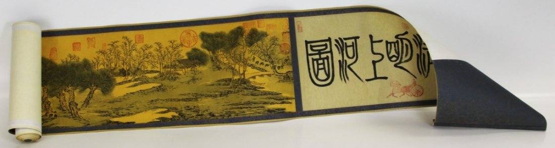 CHINESE CALLIGRAPHY SCROLL PANORAMIC LANDSCAPE 20'