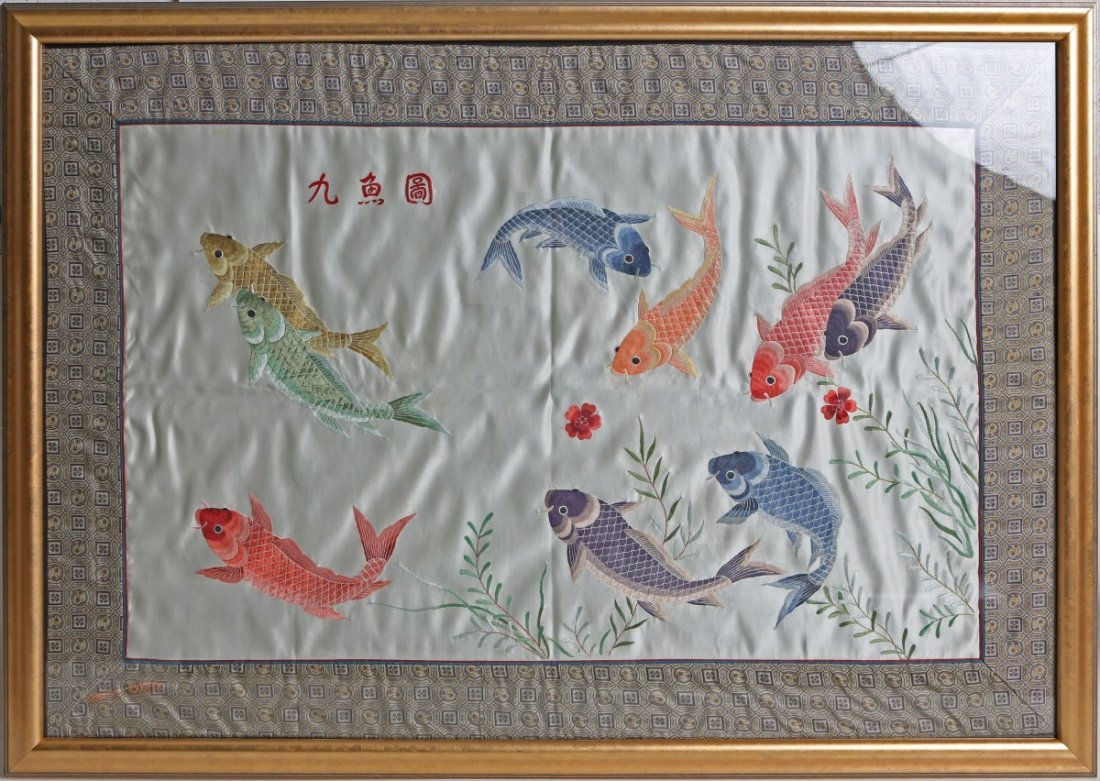 FRAMED EMBROIDERY ON SILK KOI FISH
