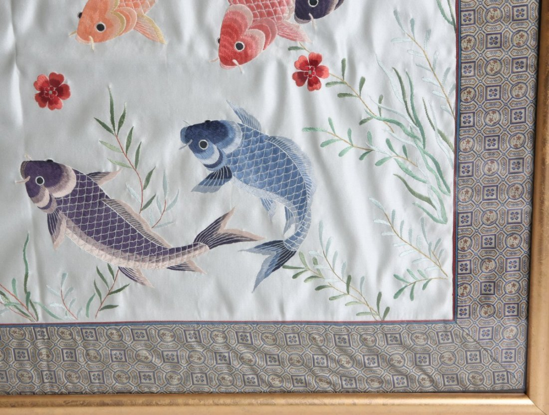 FRAMED EMBROIDERY ON SILK KOI FISH - 3