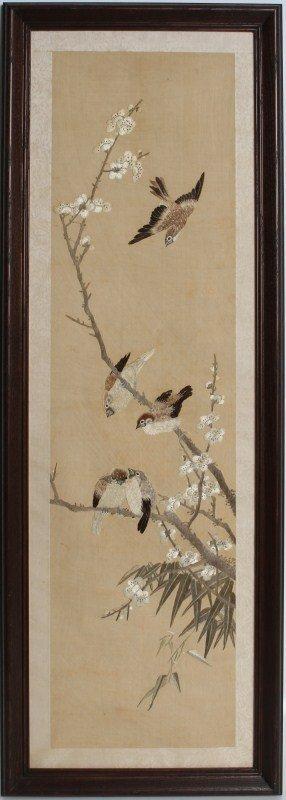 WANG JINGWEI SILK EMBROIDERY SWALLOWS/PLUM BLOSSOM
