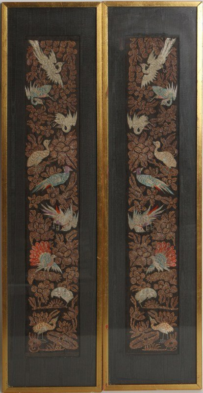(2) FRAMED CHINESE EMBROIDERY WITH BIRDS