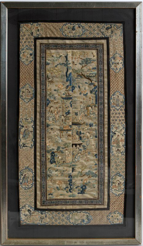 LARGE FRAMED CHINESE EMBROIDERY
