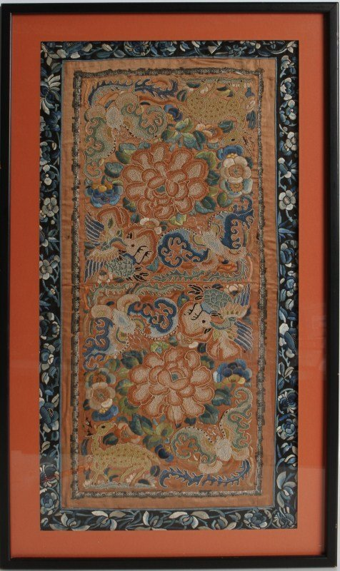 LARGE FRAMED ASAIN EMBROIDERY WITH ANIMALS