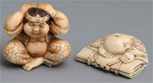 2 JAPANESE CARVED IVORY NETSUKE FIGURES