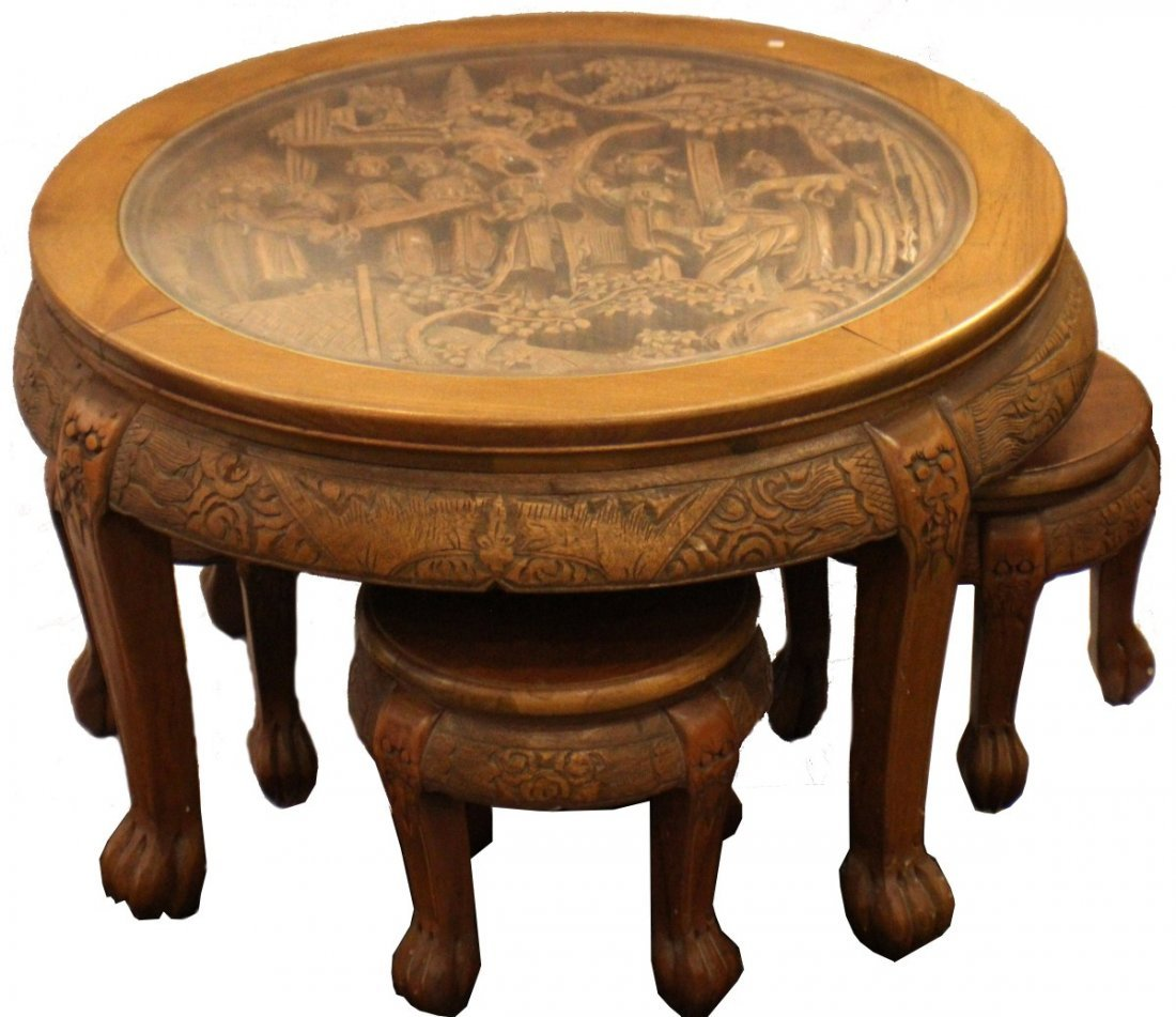 HAND CARVED COFFEE TABLE W 4 STOOLS