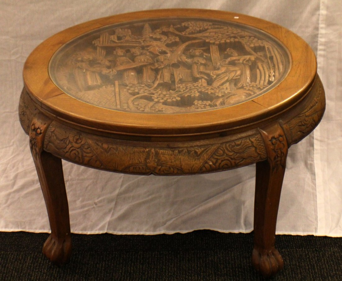 ASIAN HAND CARVED COFFEE TABLE W/ 4 STOOLS - 2