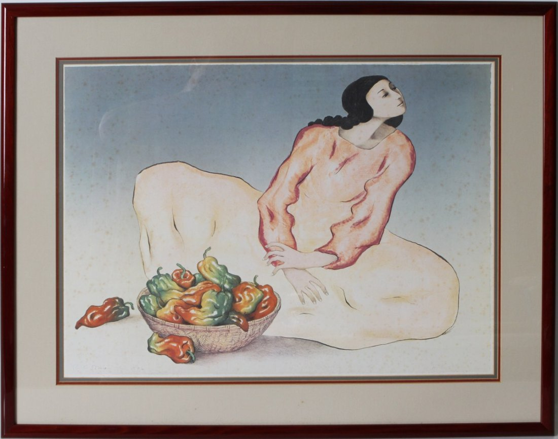 R. C. GORMAN LITHOGRAPH LADY W/ PEPPERS
