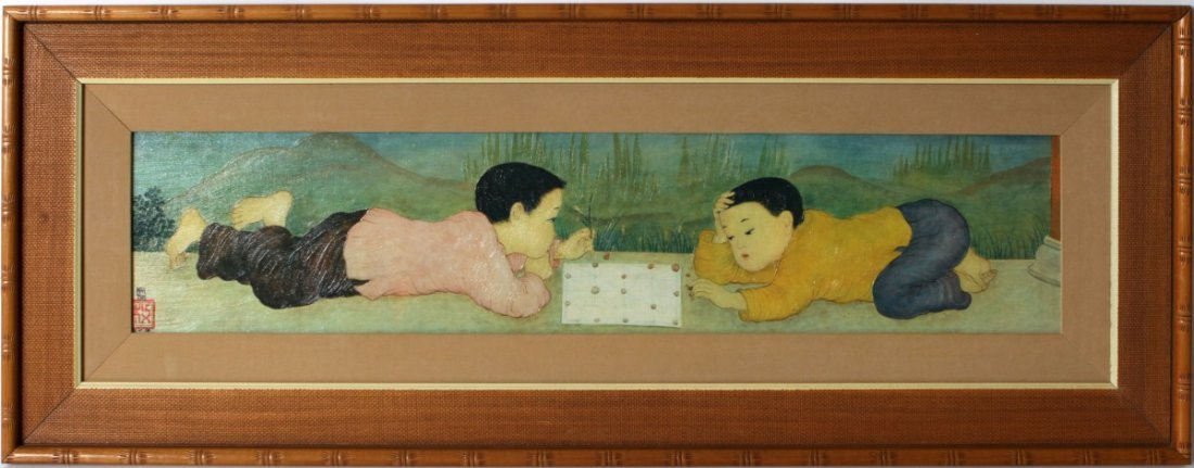 FRAMED GLICEE OF CHINESE BOYS PLAYING CHESS