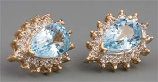 PAIR OF 14K GOLD PEAR SHAPED BLUE TOPAZ EARRINGS