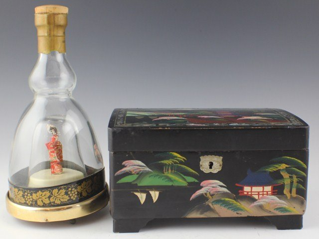 LACQUER MUSIC JEWELRY BOX & JAPANESE MUSIC BOTTLE