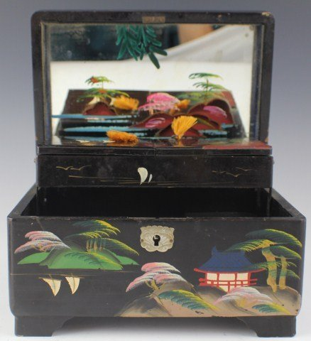 LACQUER MUSIC JEWELRY BOX & JAPANESE MUSIC BOTTLE - 2