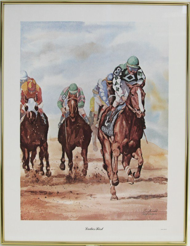 """TONY OSWALD """"LADIES FIRST"""" WATERCOLOR PRINT"""